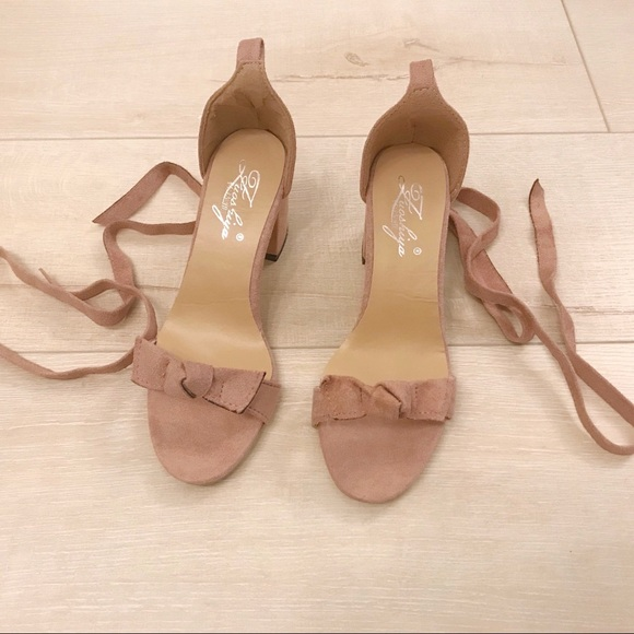 Anthropologie Shoes - Pink Block Heels with Bow